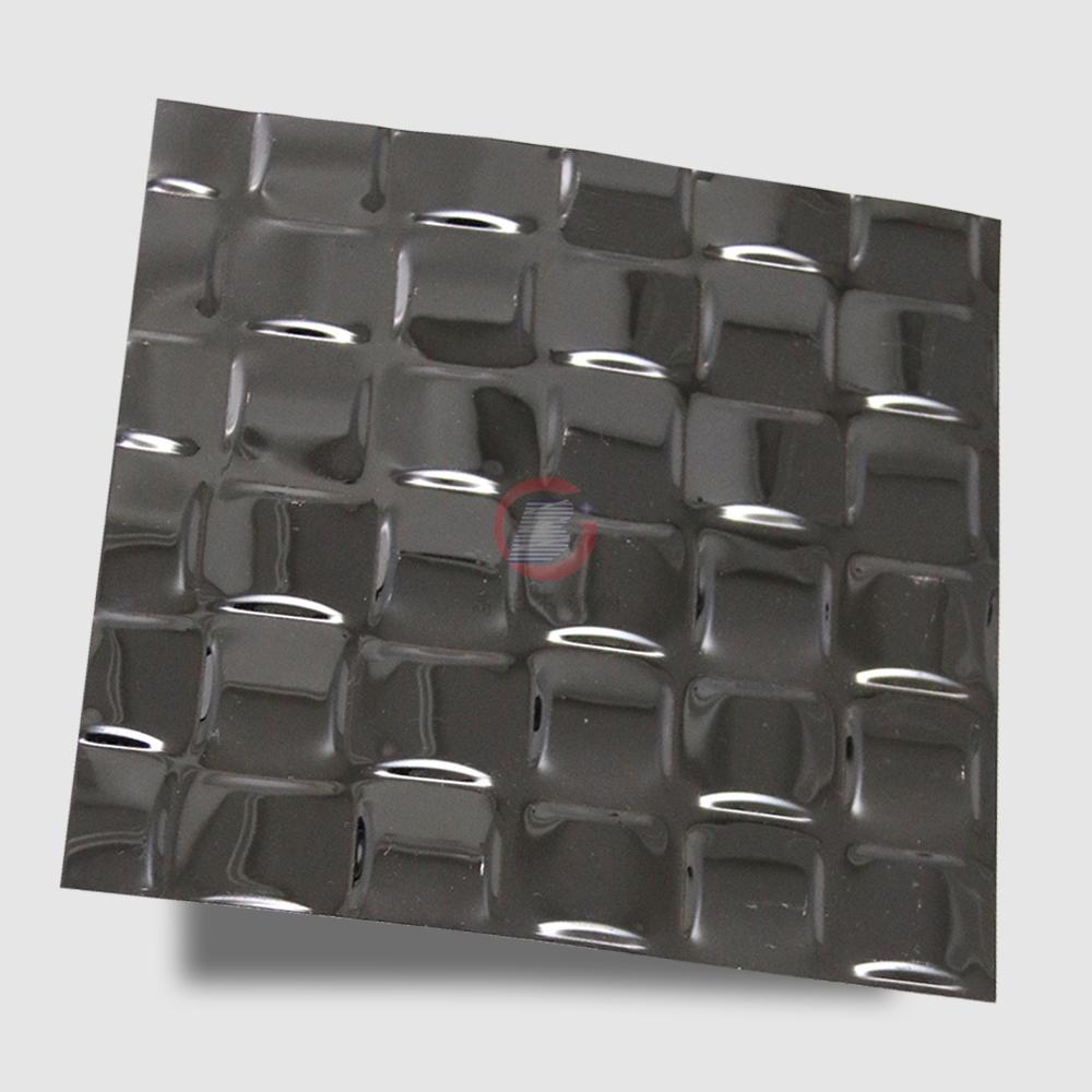 高比304不锈钢黑色镜面编织压花板 3