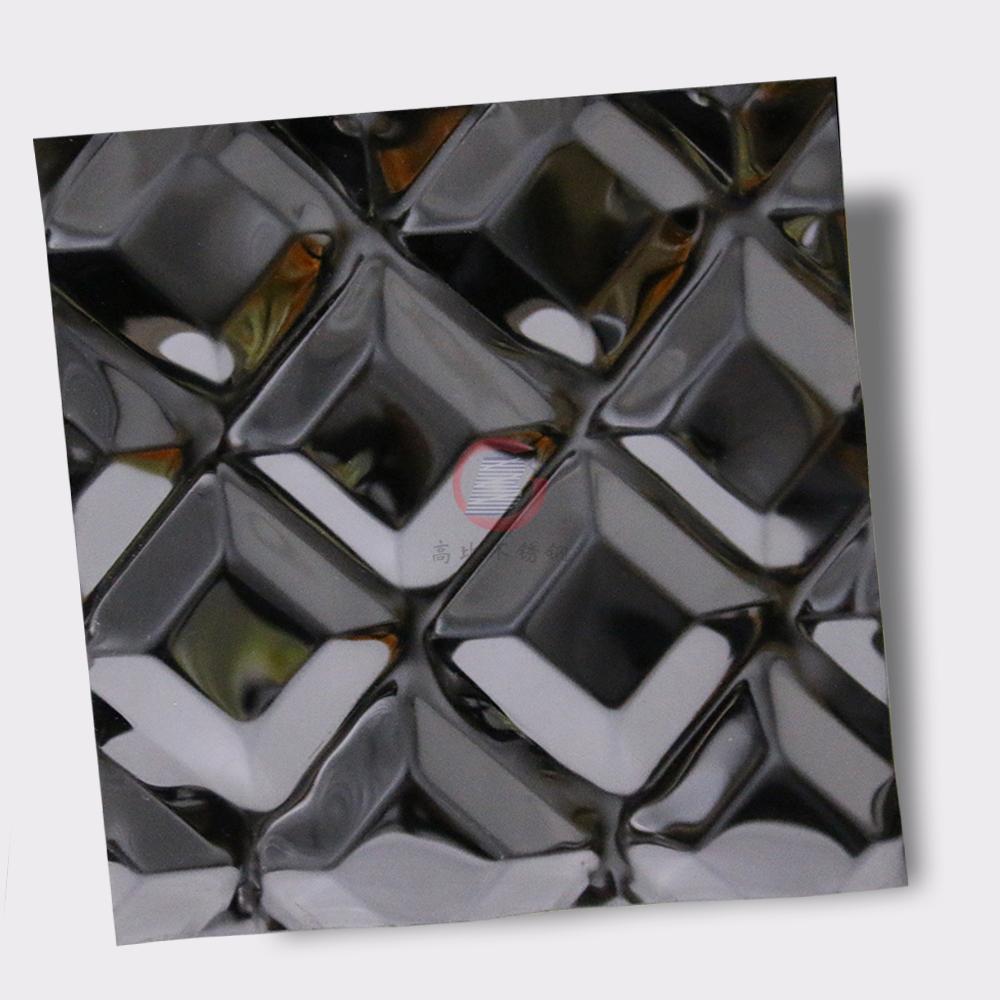 高比316不锈钢黑钛镜面菱形方格压花 1