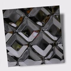 高比316不锈钢黑钛镜面菱形方格压花
