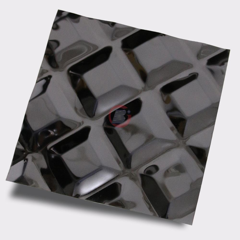 高比316不锈钢黑钛镜面菱形方格压花 3