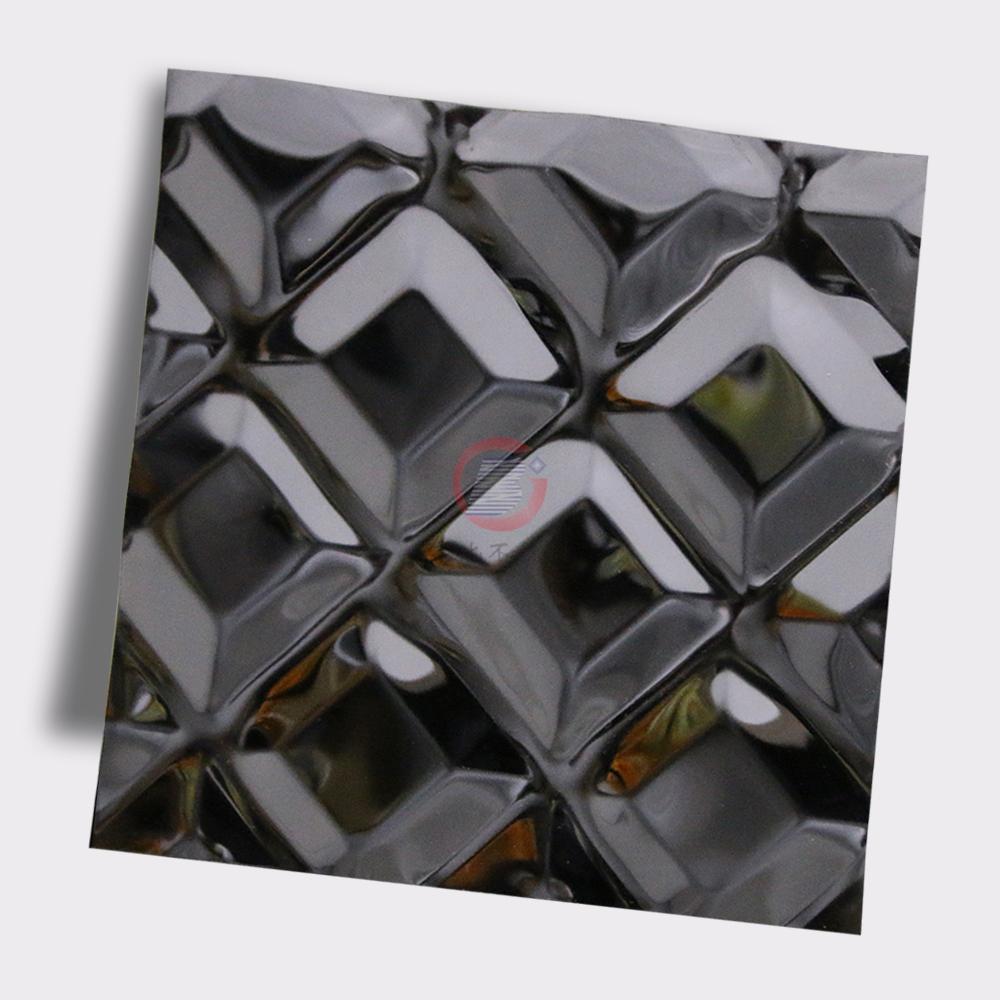 高比316不锈钢黑钛镜面菱形方格压花 4