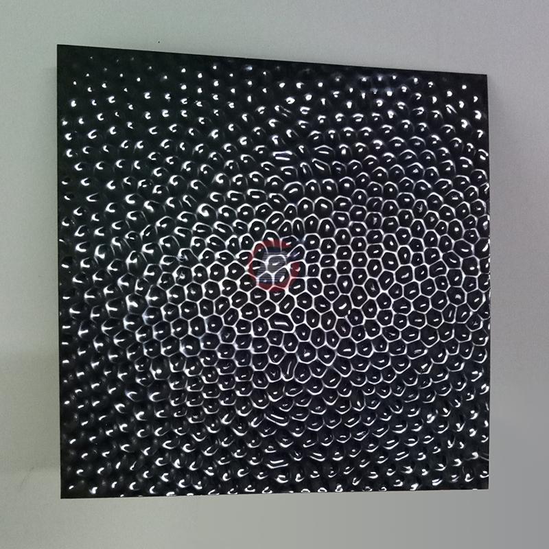 高比304黑钛镜面不锈钢冲压蜂窝纹 1