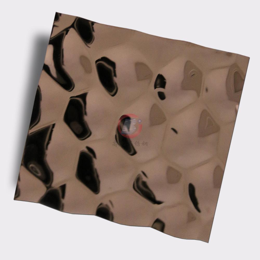 高比304不鏽鋼鏡面玫瑰金水立方體花紋 1