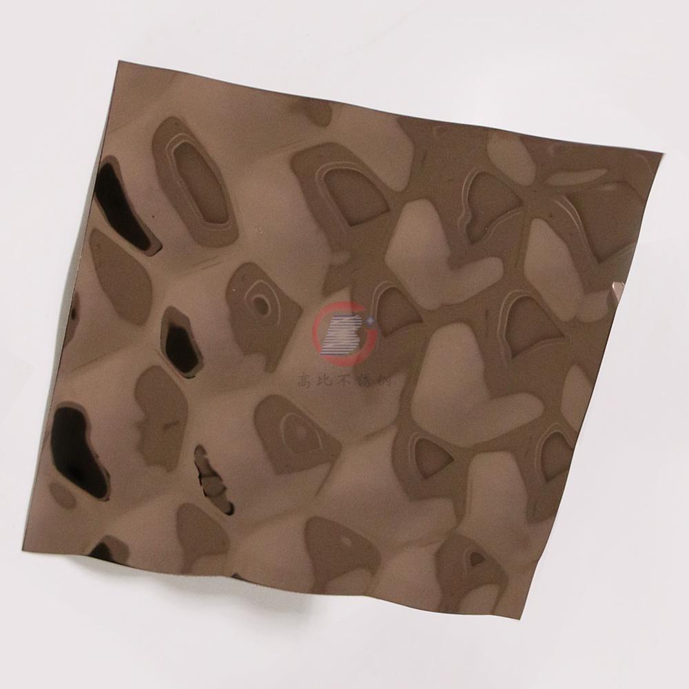 高比304不鏽鋼鏡面玫瑰金水立方體花紋 3
