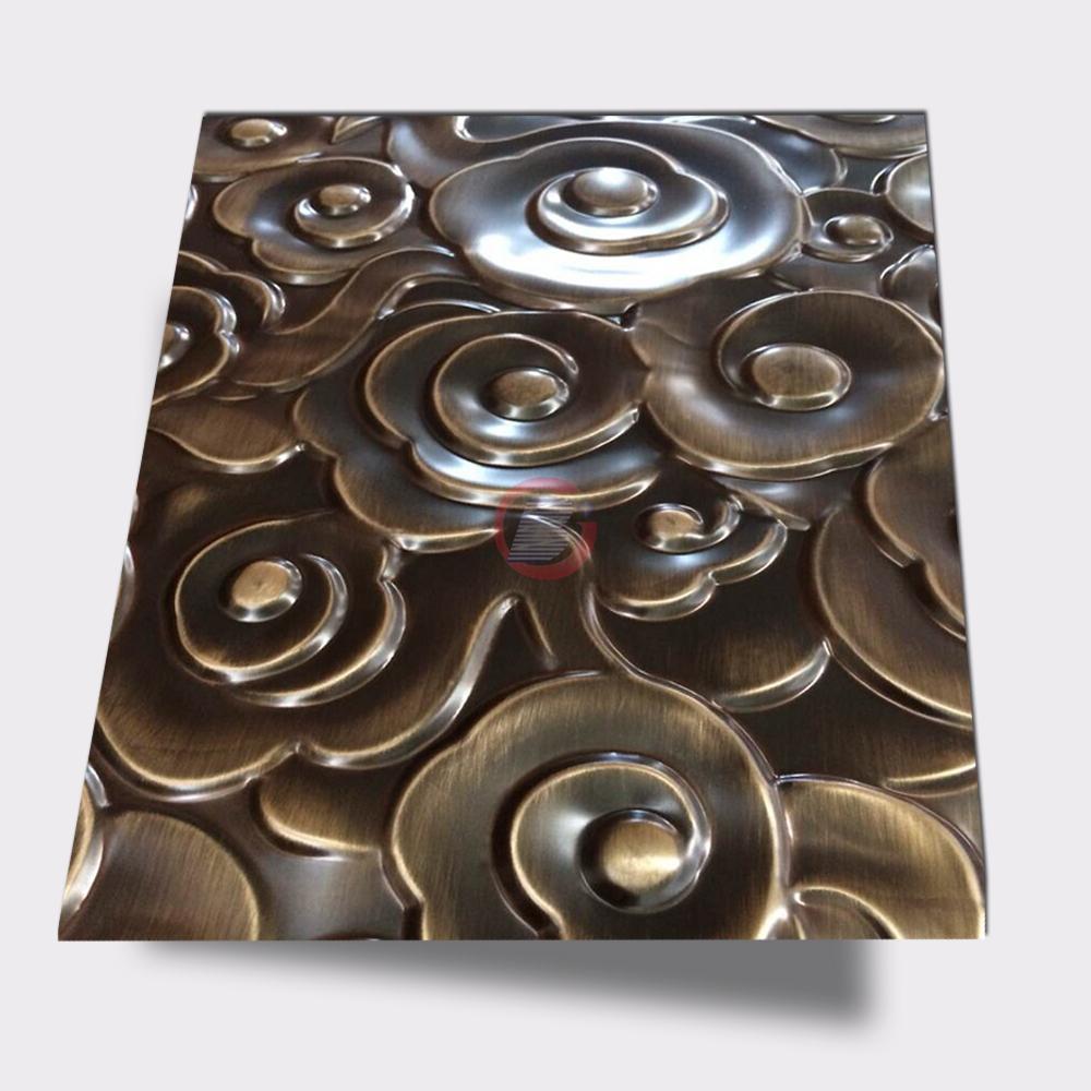 高比316不锈钢拉丝青古铜祥云压花板