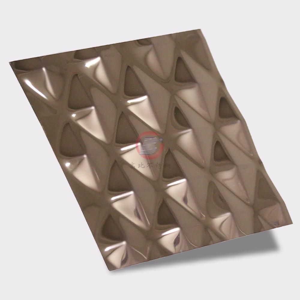 高比304不锈钢压花镜面玫瑰金菱形 1