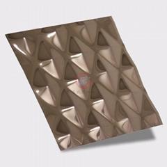 高比304不鏽鋼壓花鏡面玫瑰金菱形