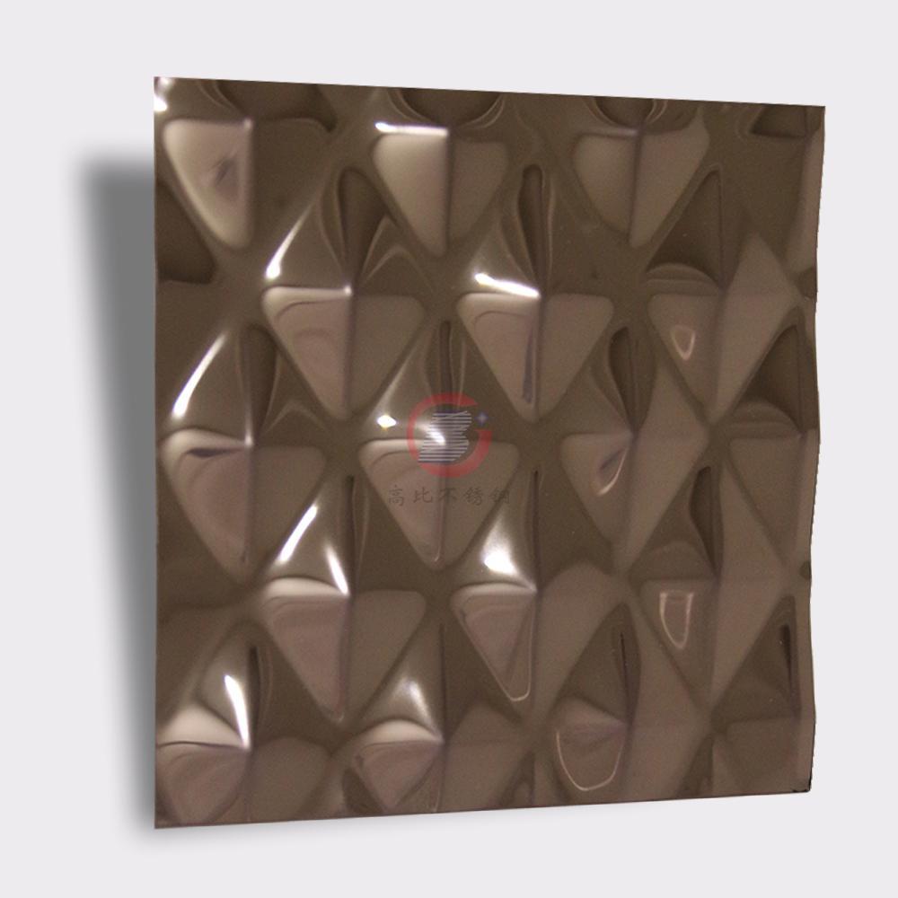 高比304不锈钢压花镜面玫瑰金菱形 2