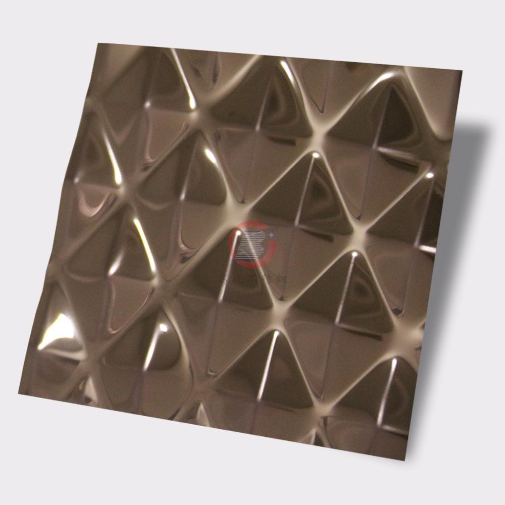 高比304不鏽鋼壓花鏡面玫瑰金菱形 3
