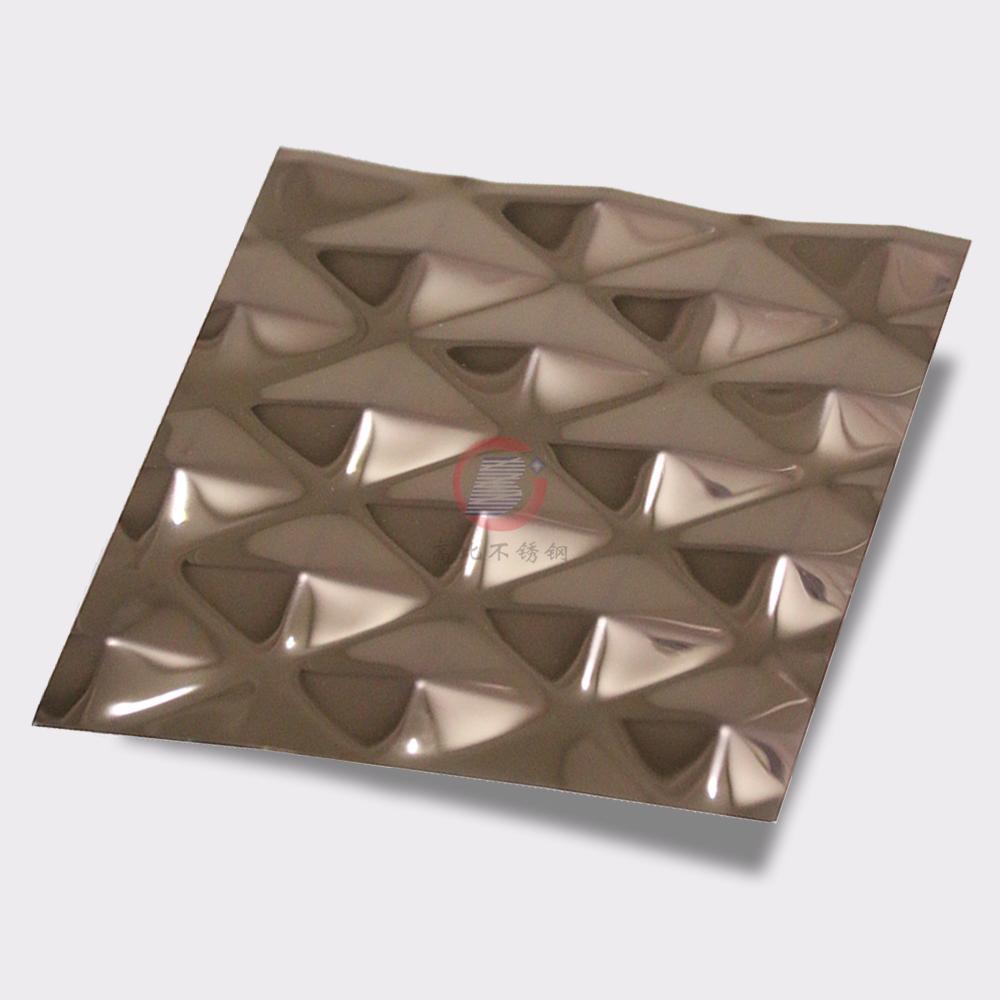 高比304不鏽鋼壓花鏡面玫瑰金菱形 4
