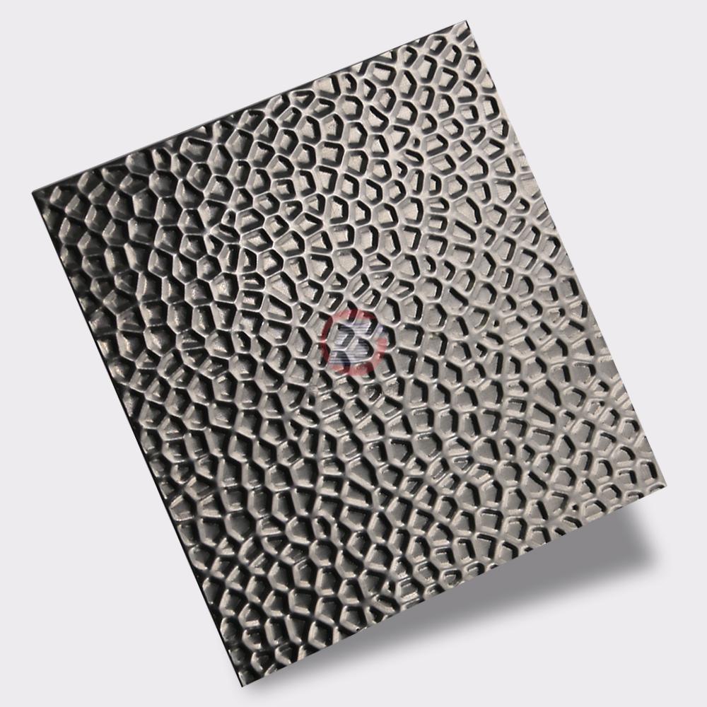 高比304不鏽鋼壓花鏡面蜂窩紋 酒店彩色不鏽鋼材料 2