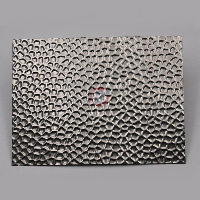 高比304不锈钢压花镜面蜂窝纹 酒店彩色不锈钢材料 4
