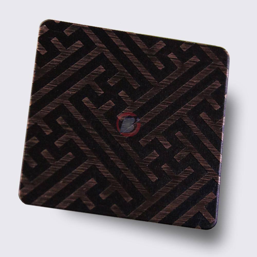 高比304不鏽鋼拉絲紅古銅發黑蝕刻板 1