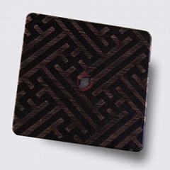 高比不鏽鋼拉絲紅古銅發黑蝕刻板