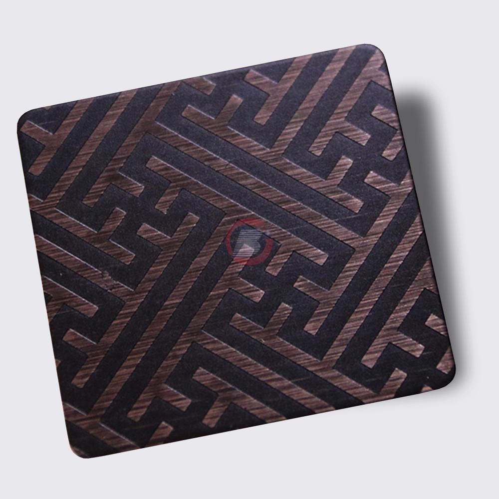 高比304不锈钢拉丝红古铜发黑蚀刻板 3