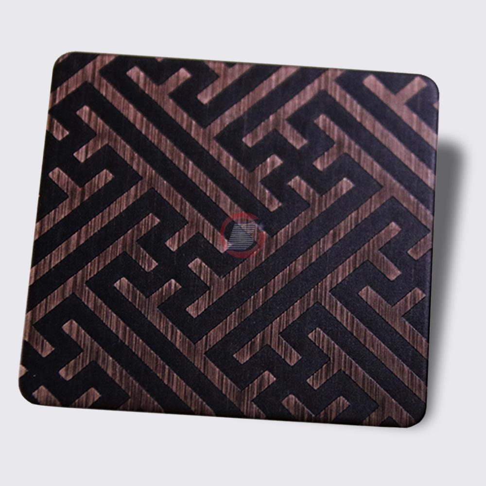 高比304不锈钢拉丝红古铜发黑蚀刻板 4