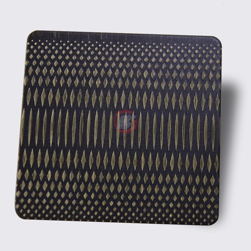 高比304不锈钢青古铜拉丝蚀刻米粒纹 2