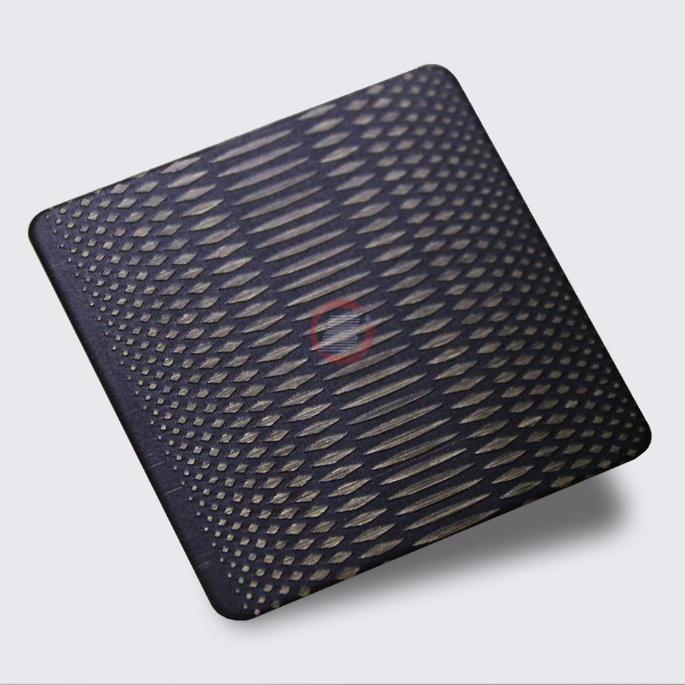 高比304不鏽鋼青古銅拉絲蝕刻米粒紋 3