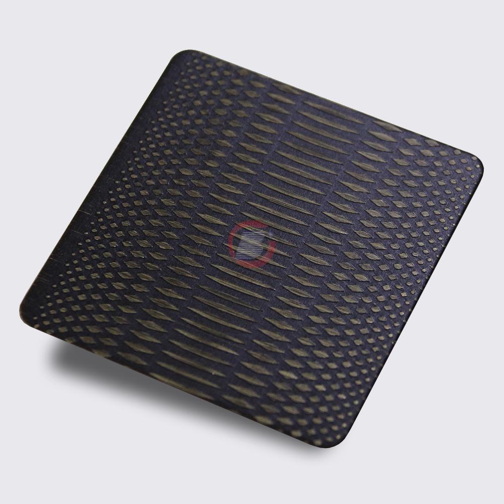 高比304不锈钢青古铜拉丝蚀刻米粒纹 4