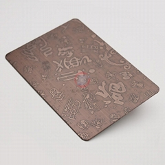高比316不锈钢红古铜拉丝蚀刻福满门