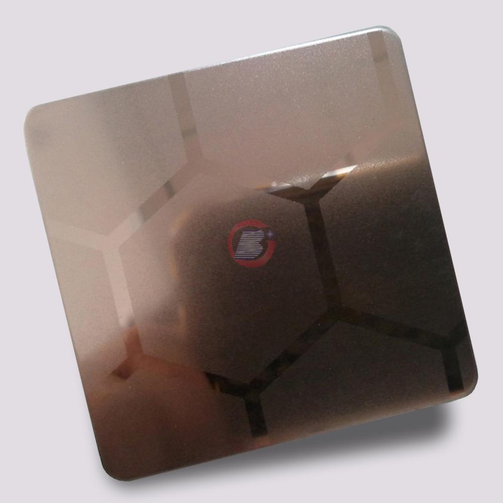 高比316不锈钢镜面局部喷砂镀玫瑰金 2