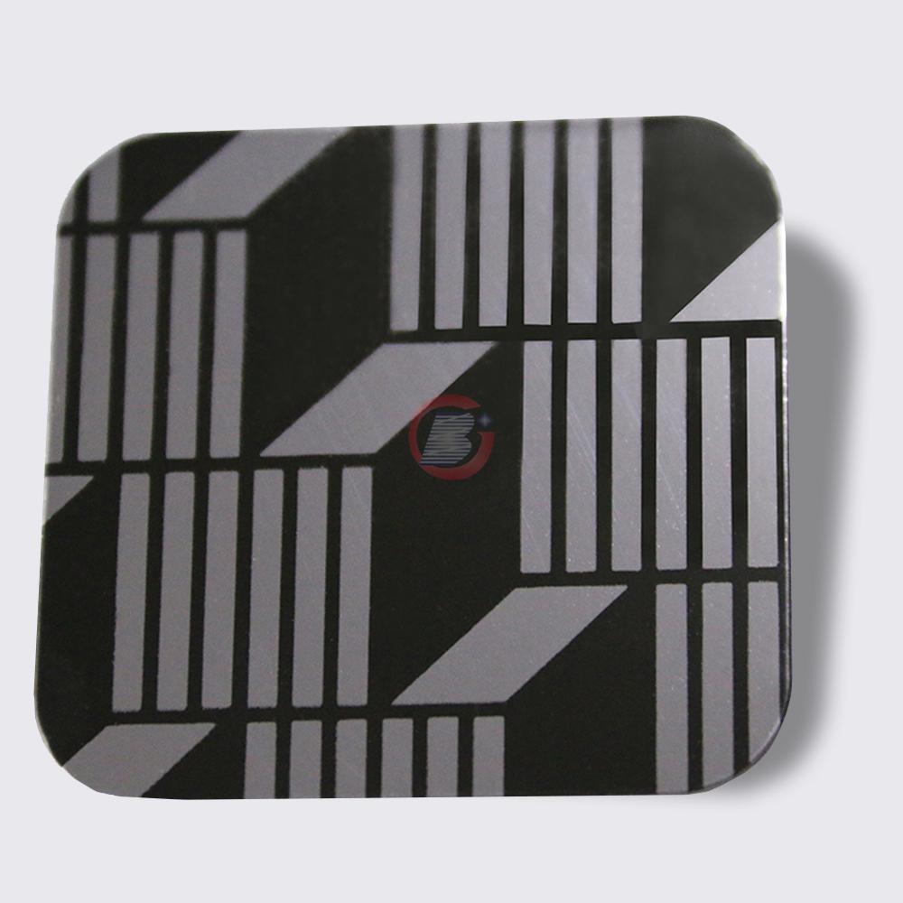 高比304镜面黑钛不锈钢蚀刻立体方格 1