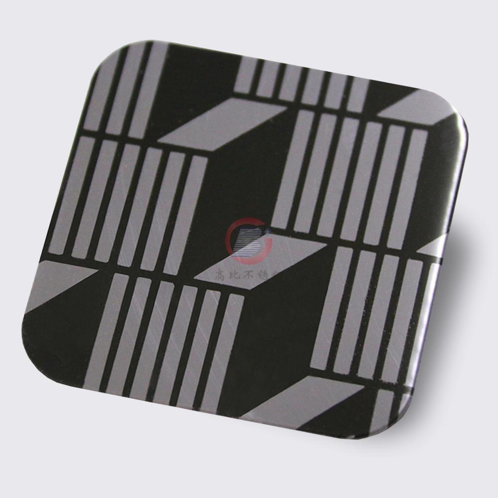 高比304镜面黑钛不锈钢蚀刻立体方格 2