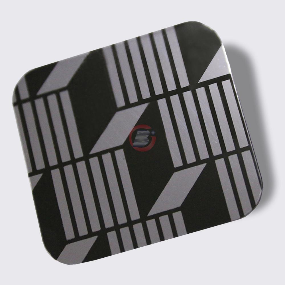 高比304镜面黑钛不锈钢蚀刻立体方格 4