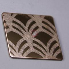 高比316不鏽鋼鏡面局部亂紋玫瑰金