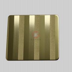 高比304不锈钢镜面局部喷砂手工拉丝钛金