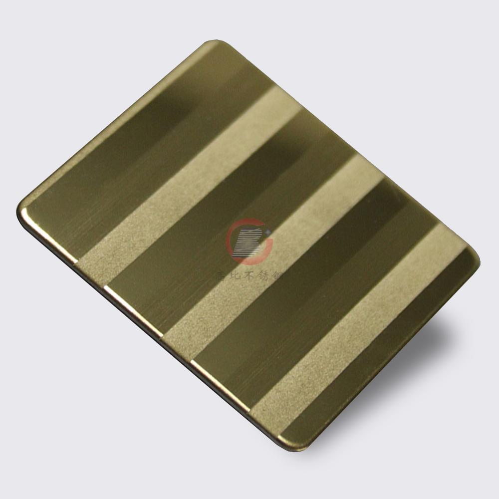 高比304不锈钢镜面局部喷砂手工拉丝钛金 3