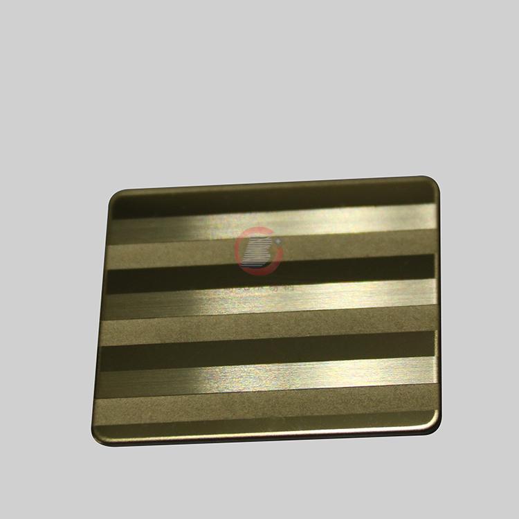 高比304不锈钢镜面局部喷砂手工拉丝钛金 4