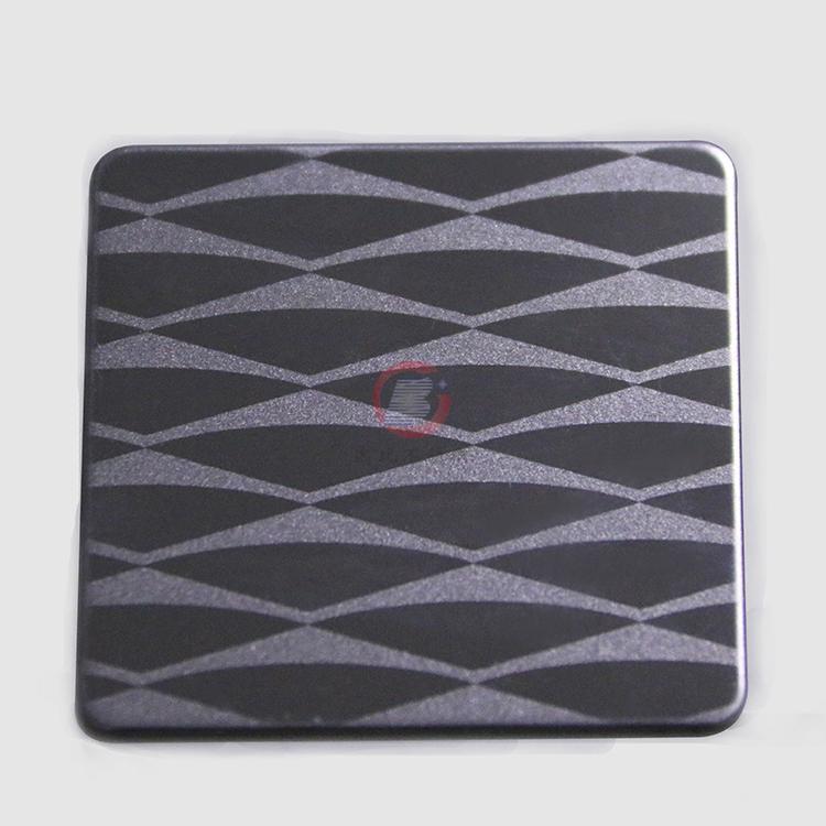 高比304不鏽鋼黑鈦鏡面局部噴砂花紋 1