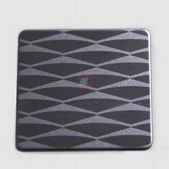 高比304不锈钢黑钛镜面局部喷砂花纹