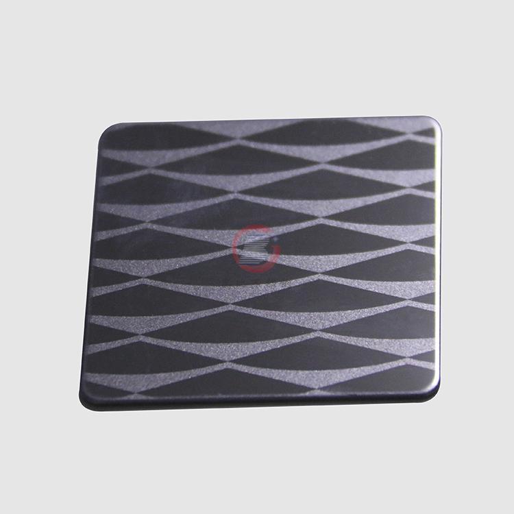 高比304不鏽鋼黑鈦鏡面局部噴砂花紋 3