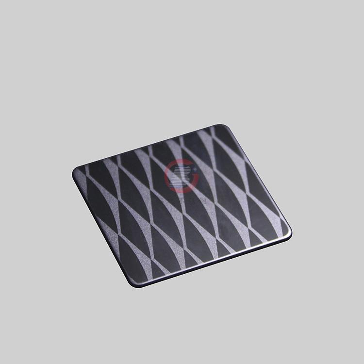 高比304不鏽鋼黑鈦鏡面局部噴砂花紋 4