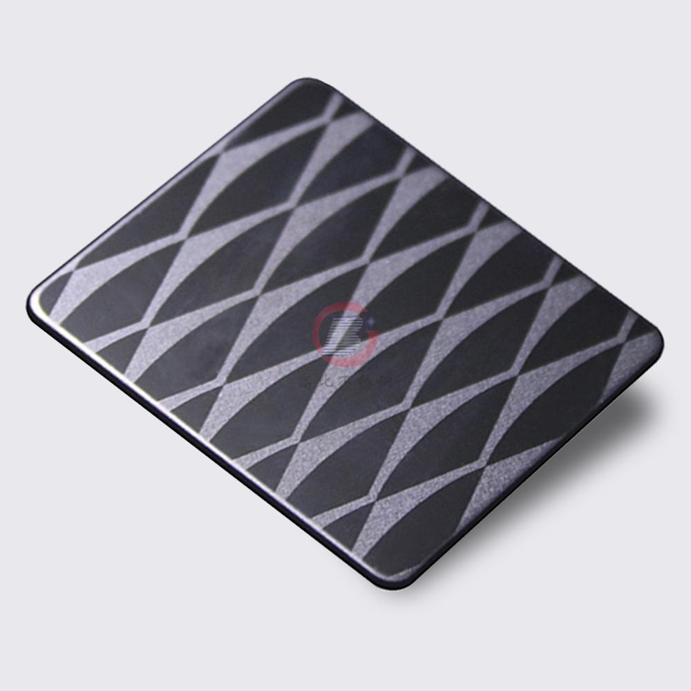 高比304不鏽鋼黑鈦鏡面局部噴砂花紋 5
