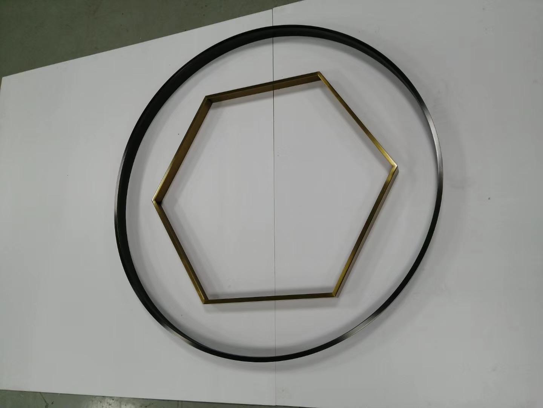 304亮光钛金拉丝不锈钢圆型镜框 4