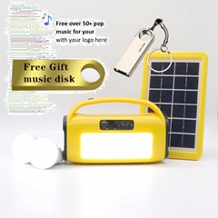 3W 6V Home Solar Power System with MP3 Player LED Light BlueTooth Speaker FM