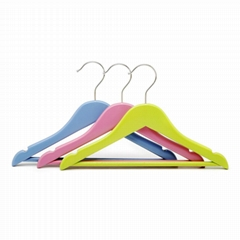 colorful wooden clothes hangers with bar for kids