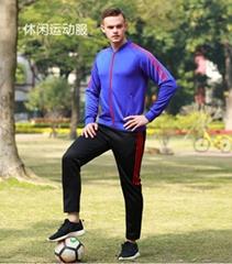 新款拉鍊V領運動服 男士秋冬款休閑跑步套裝籃球足球訓練服