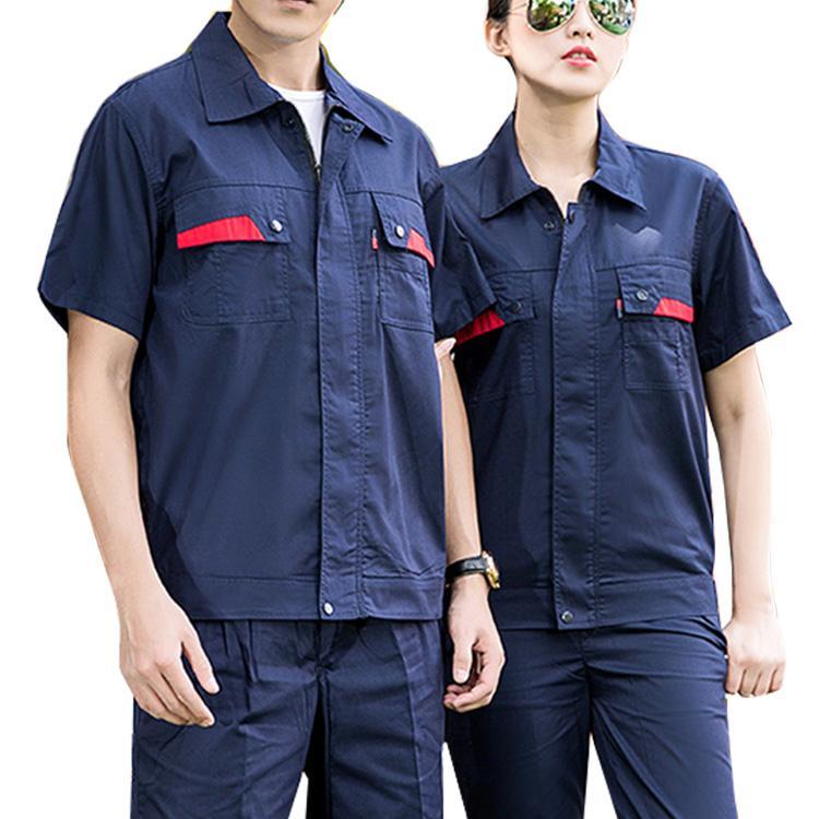 加油站電子廠夏季短袖防靜電勞保服滌棉細斜紋工作服 1