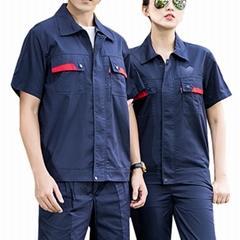 加油站電子廠夏季短袖防靜電勞保服滌棉細斜紋工作服