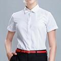 新款商務襯衫女裝休閑短袖同款純色薄款職業襯衣 1