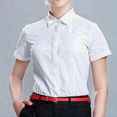 新款商務襯衫女裝休閑短袖同款純色薄款職業襯衣