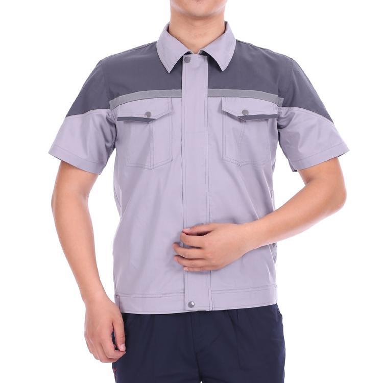 夏季透氣耐磨短袖工作服套裝半袖反光勞保服鐵路工程定製 1
