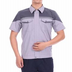 夏季透氣耐磨短袖工作服套裝半袖反光勞保服鐵路工程定製