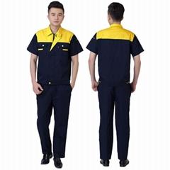 夏季工作服套装短袖男女劳保服定制工作服耐磨车间工作服