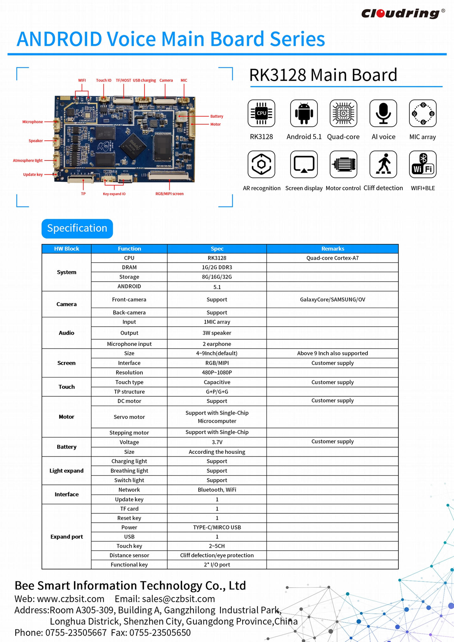 RK3128 Android Main Board for Robotic APP Control AR Book Reading 1