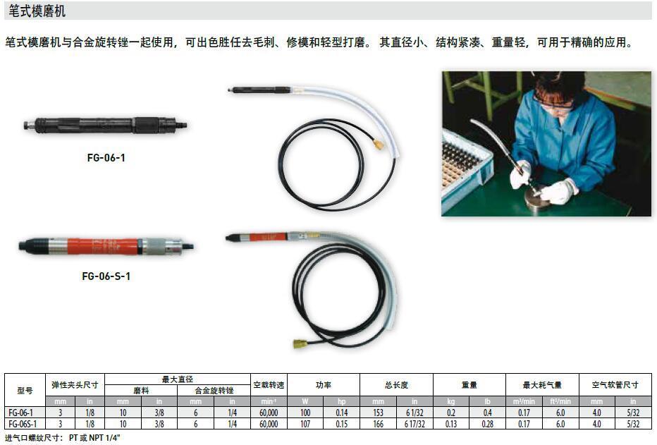 日本FUJI富士氣動筆式打磨機:FG-06S-1 3